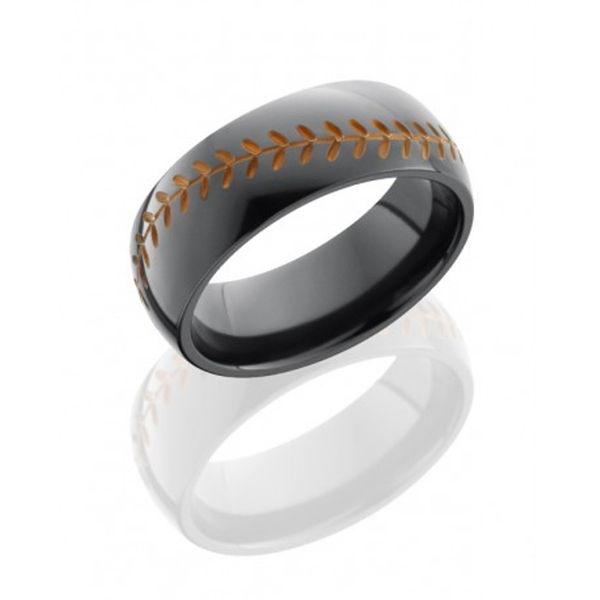 Black Zirconium Orange Baseball Design Ring