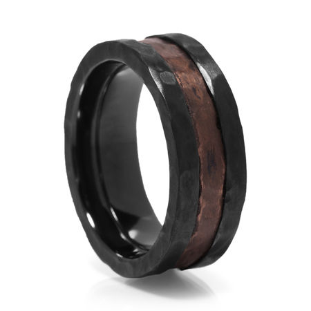 Black Zirconium & Distressed Copper Hammered Ring by Lashbrook