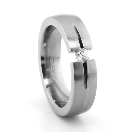 Titanium Ring with Diamond Tension Set Diamond