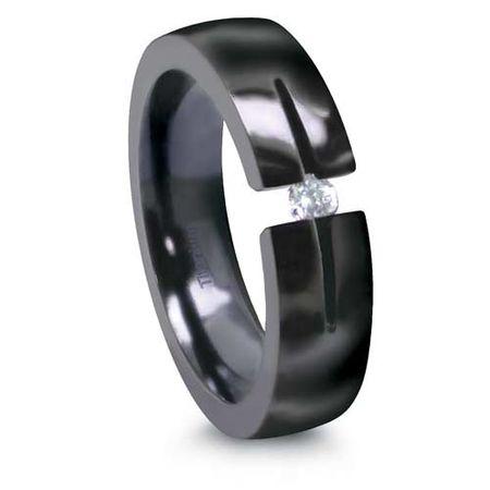EDWARD MIRELL Black Titanium Ring with Tension Set Diamond
