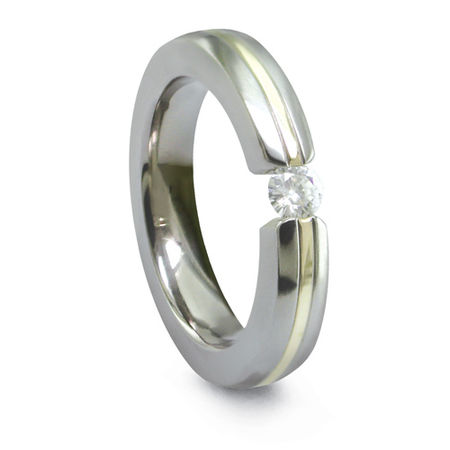 4mm Titanium, 18K Gold & Diamond Ring