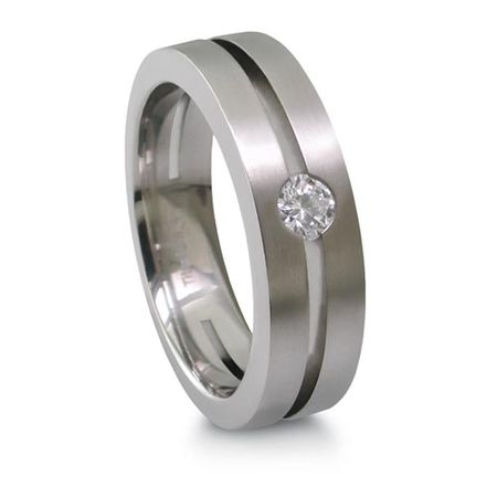 EDWARD MIRELL Split Band Diamond and Titanium Ring