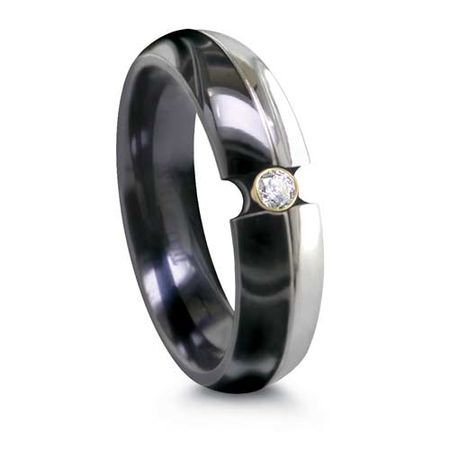 EDWARD MIRELL Black & Grey Titanium Ring with Diamond