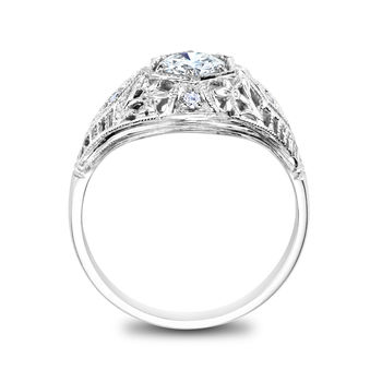 White Gold Filigree Vintage Engagement Ring - Antique 1/2ct Diamond Ring