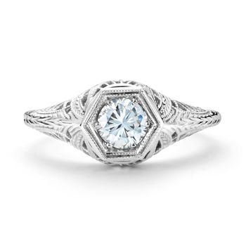 Vintage White Gold and Diamond Engagement Ring - Filigree Diamond Engagement Ring