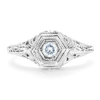 Ladies Filigree and Diamond Vintage Ring