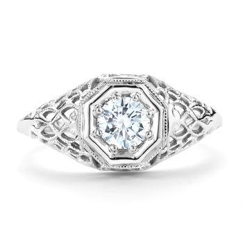 Pierced Design Antique Diamond Engagement Ring - 1/2ct Vintage Diamond Ring
