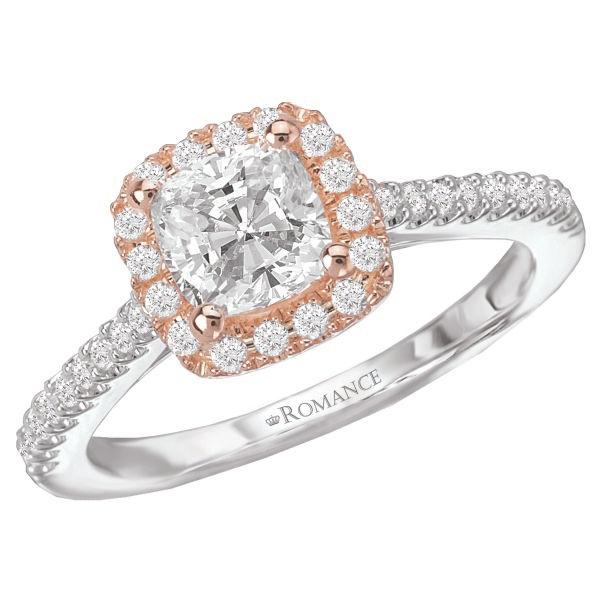 Two Tone Cushion Halo Engagement Ring - Romance Collection Cushion Halo Engagement Ring