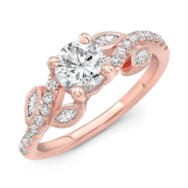 Rose Gold Diamond Vine Engagement Ring - S. Kashi Diamond Engagement Ring