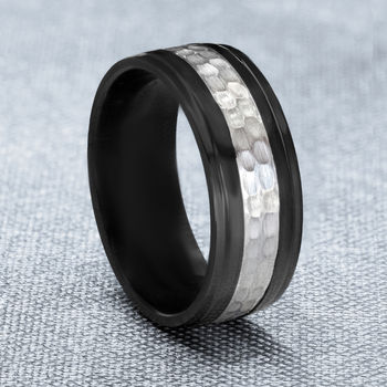 Black Zirconium and Sterling Silver Mans Ring - Black Ring with Hammered Silver