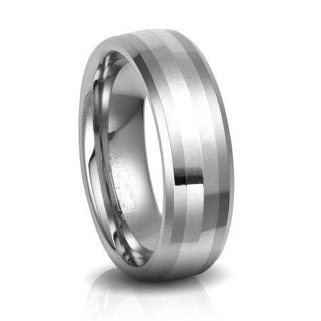 Titanium Wedding Band with Sterling Silver by Edward Mirell