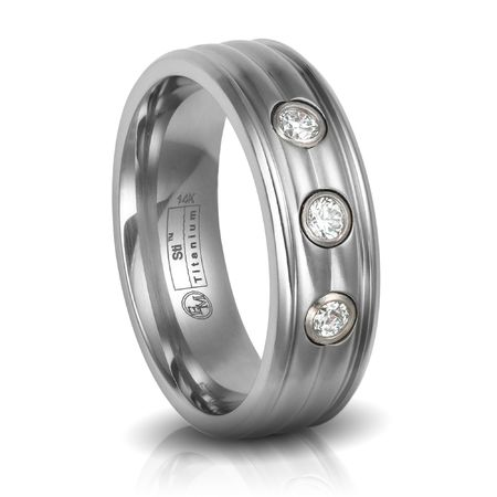Edward Mirell, Mens Titanium Wedding Band with .30ctw Diamonds