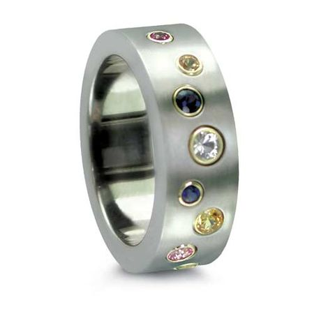 Titanium & Colored Sapphire Scatter Ring by Edward Mirell