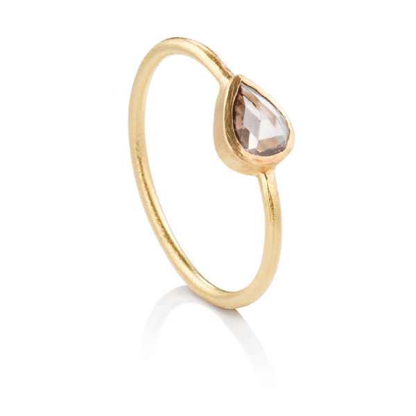 Pear Shaped Carmel Colored Diamond Ring - Rose Cut Diamond in Yellow Gold