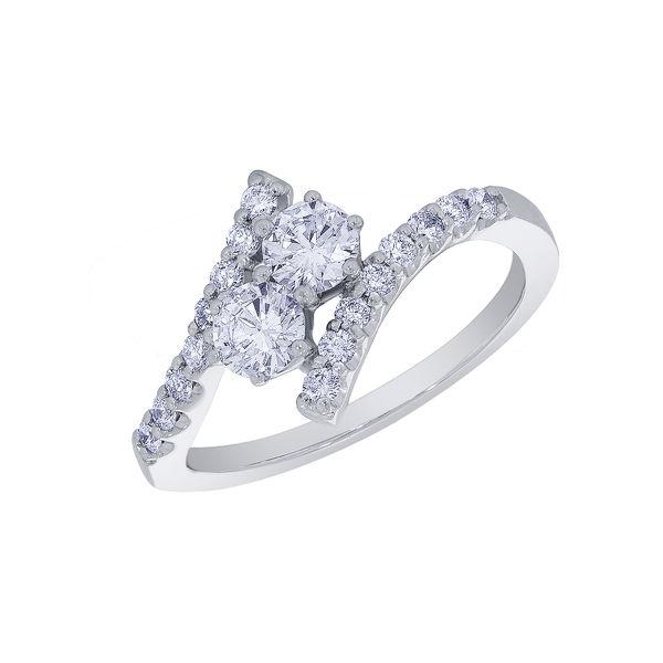 Two Stone Diamond Bypass Ring -  Modesto 2 Stone Diamond Ring - Gorgeous!