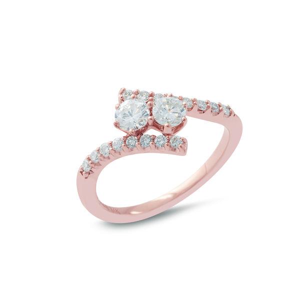 Rose Gold & Diamond 2 Stone Bypass Ring - .81 carats of beauty!
