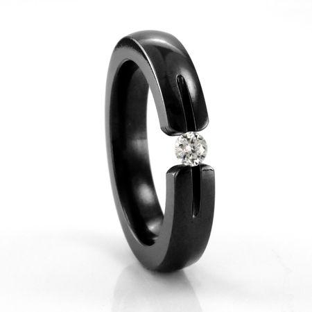 Ladies Black Titanium Ring with Tension Set Diamond