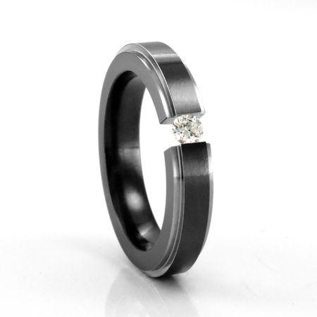 EDWARD MIRELL Ladies Two Tone Black Titanium Diamond Ring