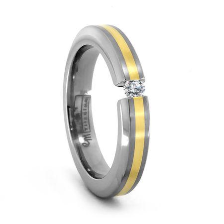 Titanium, 18K Gold and Tension Set Diamond Ring by Edward Mirell