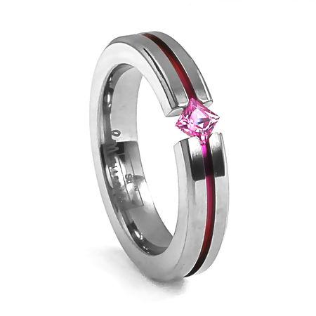 Titanium & Pink Sapphire Diagonal Ring