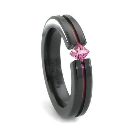 Edward Mirell Black Titanium Ring with Diagonal Pink Sapphire