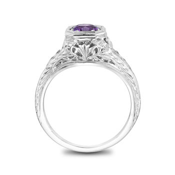 Ladies White Gold and Amethyst Vintage Ring - Amethyst Filigree Antique Style Ring