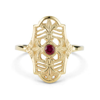 Ladies 14K yellow gold and ruby vintage ring  - antique style ruby and gold ring