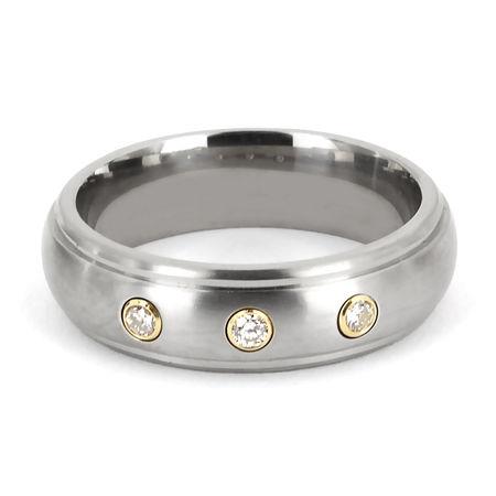 Titanium Ring with Diamonds by TRITON
