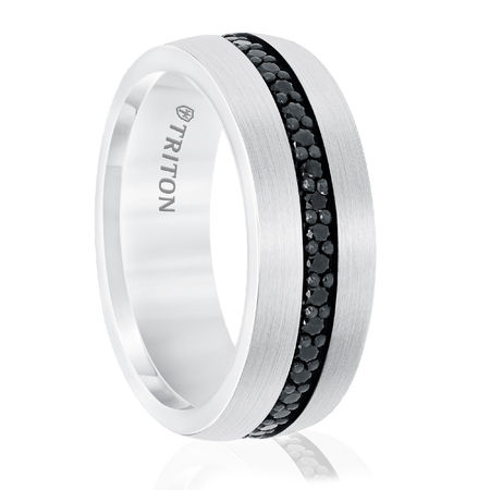 White Tungsten With Black Sapphire Ring by Triton