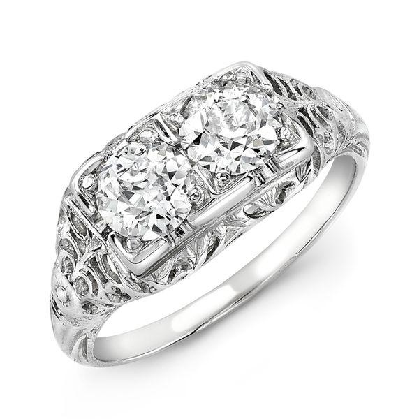 Vintage 18K White Gold & Two Diamond Filigree Ring - 1920s