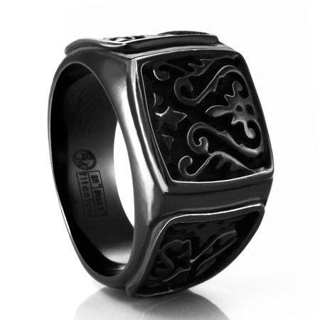 HERITAGE Black Titanium Signet Ring