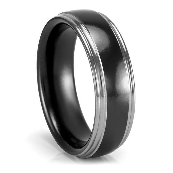 7mm Black Zirconium Wedding Band by Heavy Stone Rings
