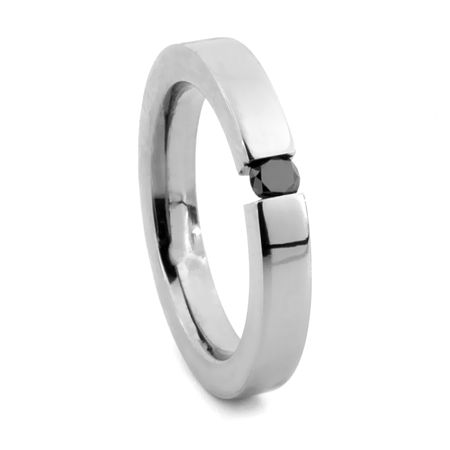 Black Diamond Tension Set Titanium Ring