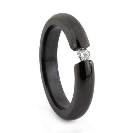 Ladies Black Titanium & Diamond Tension Set Ring by EDWARD MIRELL