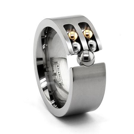 Titanium Ring with Rolling Gold & Titanium Balls