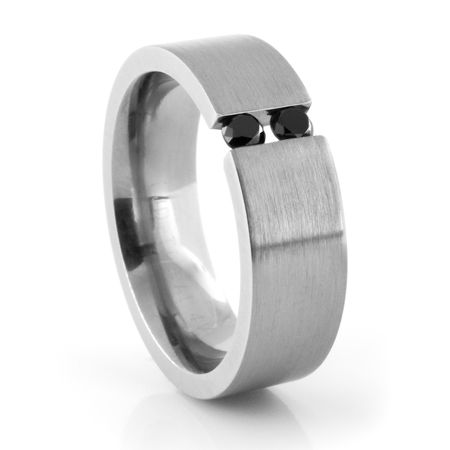Titanium Tension Set Ring with Black Diamonds