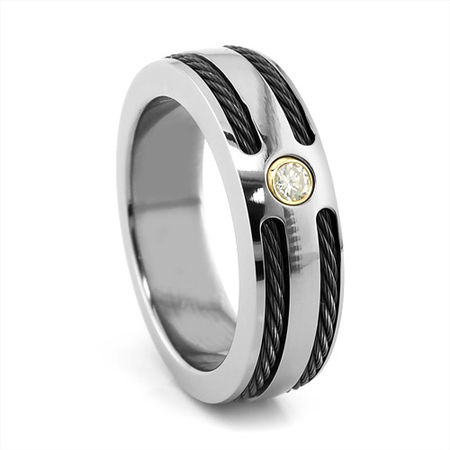 Titanium & Black Titanium Cable Diamond Ring by Edward Mirell