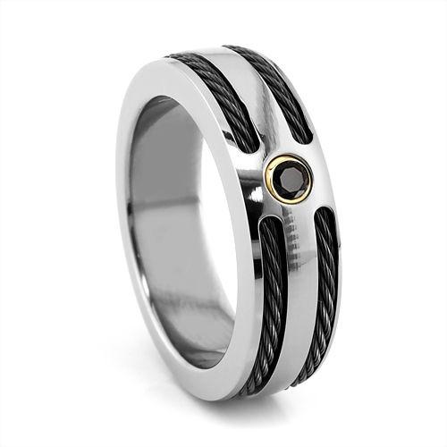 Titanium with Black Titanium Cable Inlay & Black Diamond Ring