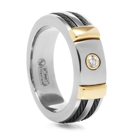 Diamond Titanium Ring With Gold & Black Cables