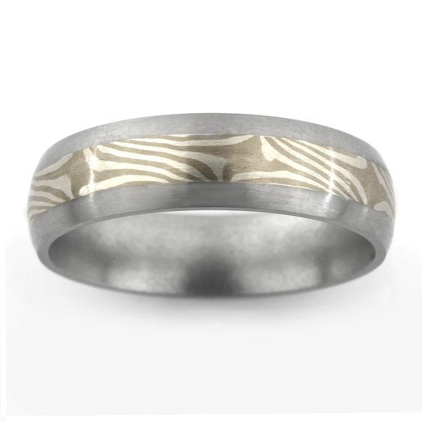 Titanium Ring with Sterling Silver & 14kt White Palladium Mokume Gane Inlay