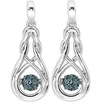 Rhythm Of Love Silver & Blue Diamond Earrings - Knot Design