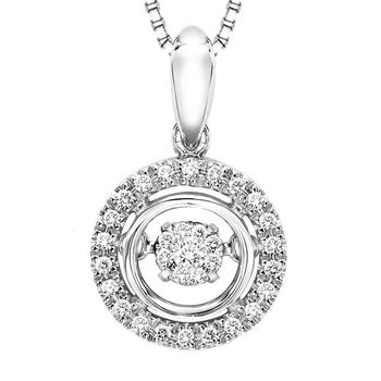 Rhythm of Love Sterling and Diamond Halo Necklace - Halo Style