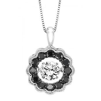 Rhythm Of Love White Gold & Diamond Pendant - Black & White Diamonds