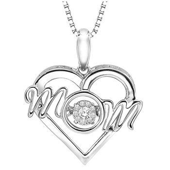 Rhythm of Love Sterling Silver MOM Pendant with Diamonds