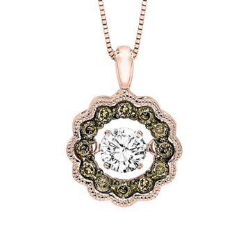 Rhythm Of Love Rose Gold & Diamond Pendant - Cognac & White Diamonds