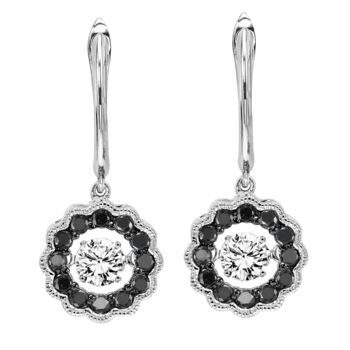 Rhythm Of Love  Black & White Diamond Dangle Earrings
