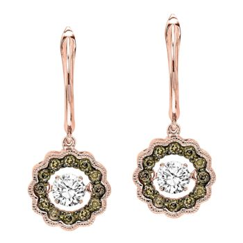 Rhythm Of Love Rose Gold Diamond Earrings - Cognac Diamond Earrings