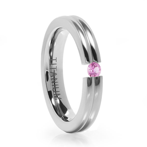Titanium Tension Set Pink Sapphire Ring