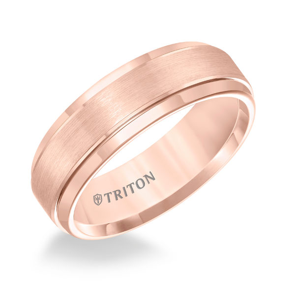 Rose Tungsten 7mm Step Edge Ring by Triton