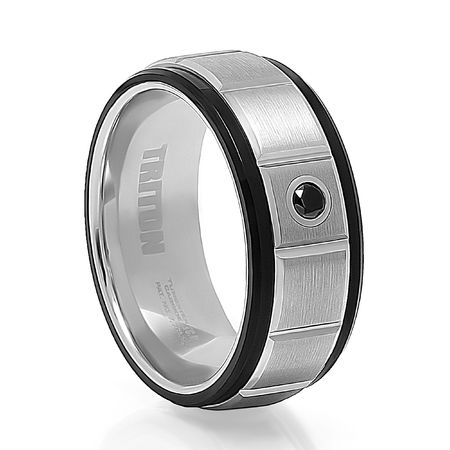 JARVIS  Tungsten Band with Black Diamond